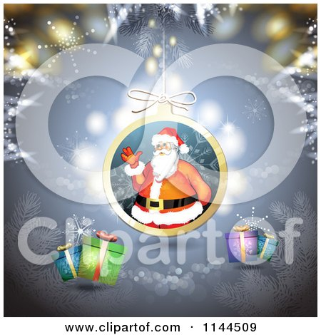 Clipart of a Santa Waving Christmas Bauble Background 2 - Royalty Free Vector Illustration by merlinul
