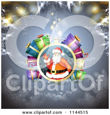 Clipart of a Santa Waving Christmas Bauble Background 6 - Royalty Free Vector Illustration by merlinul