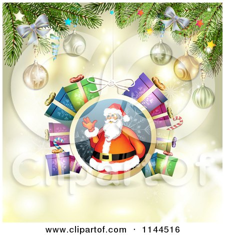 Clipart of a Santa Waving Christmas Bauble Background 5 - Royalty Free Vector Illustration by merlinul