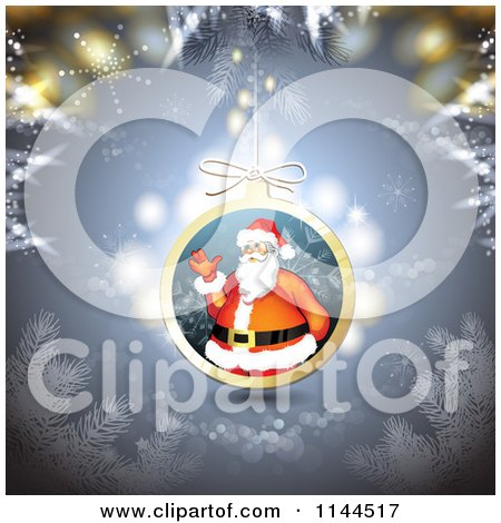 Clipart of a Santa Waving Christmas Bauble Background 1 - Royalty Free Vector Illustration by merlinul