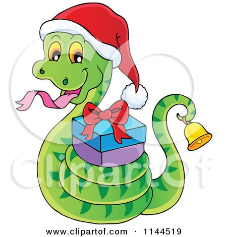 Cartoon of a Cute Christmas Snake Ringing a Bell and Holding a Gift - Royalty Free Vector Clipart by visekart