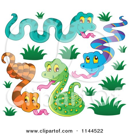 Cartoon of Cute Snakes with Grass - Royalty Free Vector ... Cute Reptiles Clipart
