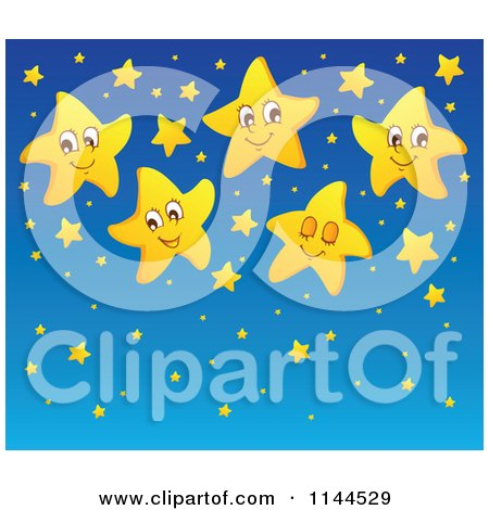 Cartoon of a Cute Yellow Star and Blue Night Sky Background - Royalty Free Vector Clipart by visekart