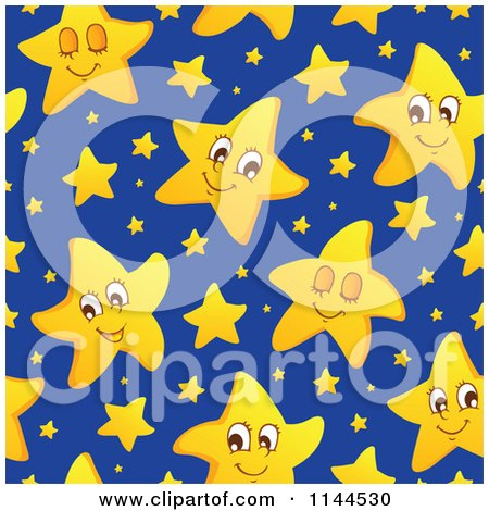 Cartoon of a Cute Yellow Star and Blue Night Sky Background ...