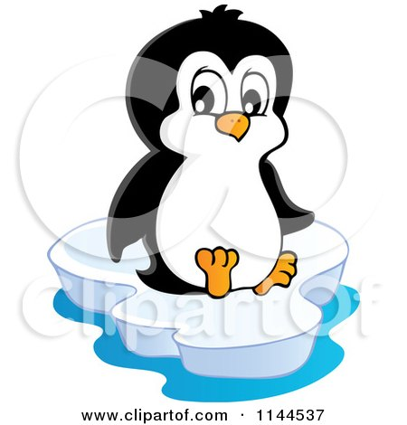 Cartoon of a Cute Little Penguin Sitting on an Iceberg - Royalty Free Vector Clipart by visekart
