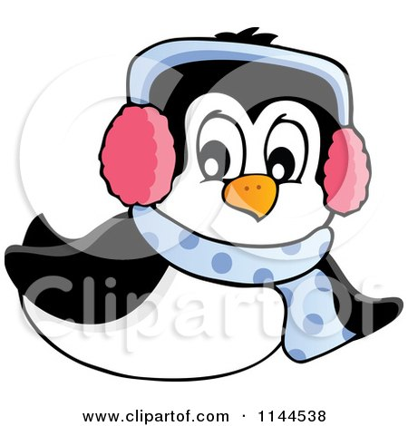 Cartoon of a Cute Little Sliding Penguin Wearing a Scarf and Winter Ear Muffs - Royalty Free Vector Clipart by visekart