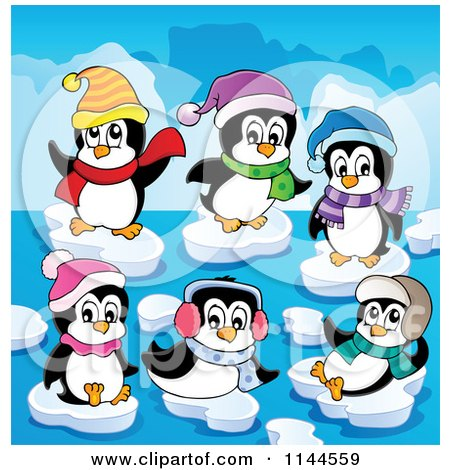 Cartoon of Cute Penguins with Winter Accessories Playing on Ice Bergs - Royalty Free Vector Clipart by visekart