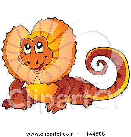 Cartoon Of A Cute Orange Aussie Frilled Lizard Royalty Free Vector Clipart