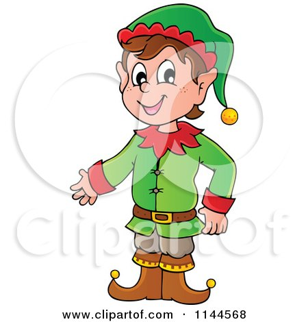 Cartoon of a Happy Male Christmas Elf Presenting - Royalty Free Vector Clipart by visekart
