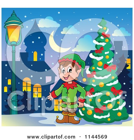 Cartoon of a Happy Male Christmas Elf by an Outdoor City Tree - Royalty Free Vector Clipart by visekart