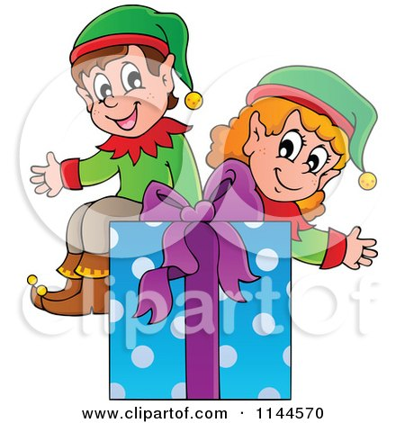 Cartoon of Happy Christmas Elves Sitting on a Gift Box - Royalty Free Vector Clipart by visekart