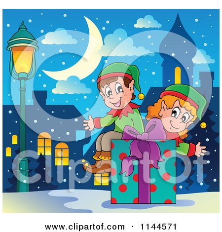 Cartoon of Happy Christmas Elves Sitting on a Gift Box in a Snowy City - Royalty Free Vector Clipart by visekart