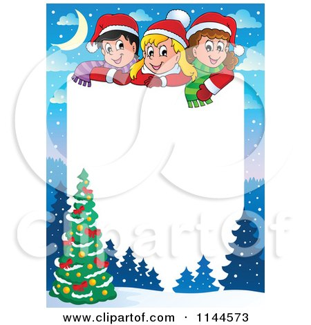 Cartoon of a Border of Happy Winter Children with a Christmas Tree and Copyspace - Royalty Free Vector Clipart by visekart