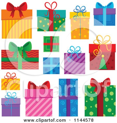 Cartoon of Beautifully Wrapped Gift Boxes - Royalty Free Vector Clipart by visekart