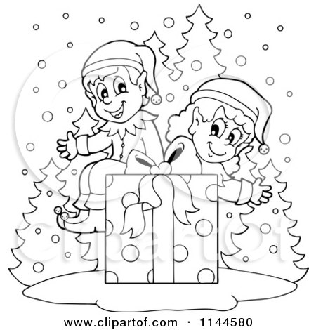 Cartoon of Happy Black and White Christmas Elves Sitting on a Gift Box in the Snow - Royalty Free Vector Clipart by visekart