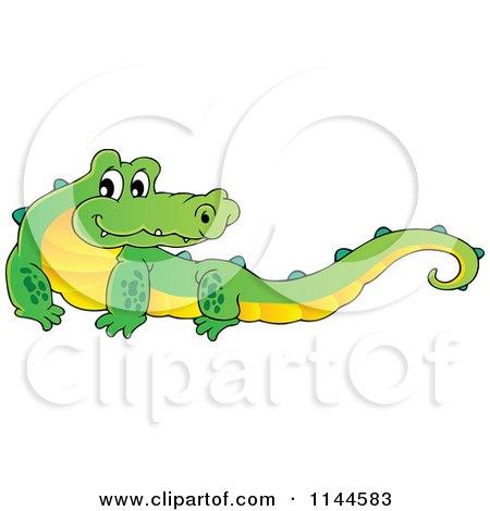 Cartoon of a Cute Aussie Crocodile - Royalty Free Vector Clipart by visekart
