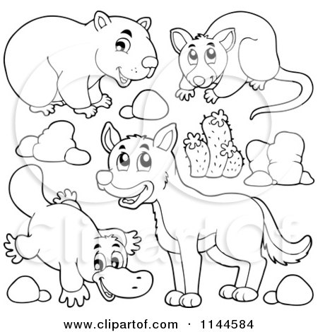 Cartoon of a Cute Black and White Aussie Dingo Platupus Wombat and Possum with Plants and Boulders - Royalty Free Vector Clipart by visekart