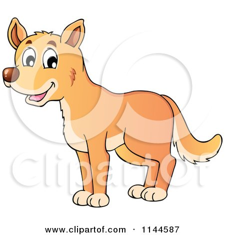 Cartoon of a Cute Aussie Dingo Dog - Royalty Free Vector Clipart by visekart