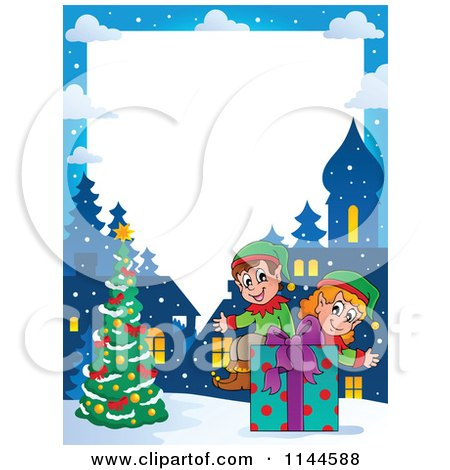 Cartoon of a Border of Christmas Elves Sitting on a Gift Box by a Tree - Royalty Free Vector Clipart by visekart