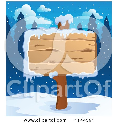 Cartoon of a Wooden Winter Sign Post in the Snow - Royalty Free Vector Clipart by visekart