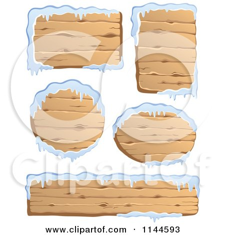 Cartoon of Wooden Winter Signs with Snow - Royalty Free Vector Clipart by visekart