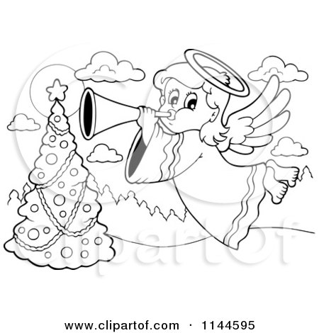 Cartoon of a Black and White Christmas Angel Bowing a Horn over a Christmas Tree - Royalty Free Vector Clipart by visekart
