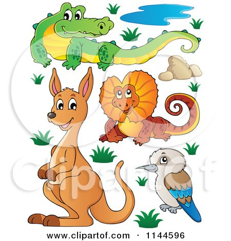 Cartoon of a Cute Aussie Crocodile Frilled Lizard Kangaroo and Kookaburra with Plants and Boulders - Royalty Free Vector Clipart by visekart