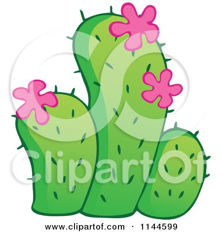 Cartoon of a Green Cactus Plant with Pink Flowers - Royalty Free Vector Clipart by visekart