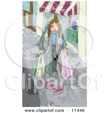 Sad Woman Carrying Shopping Bags in Pouring Rain Clipart Illustration by AtStockIllustration