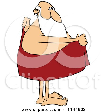 Cartoon of Santa Drying off Drying Off Clipart
