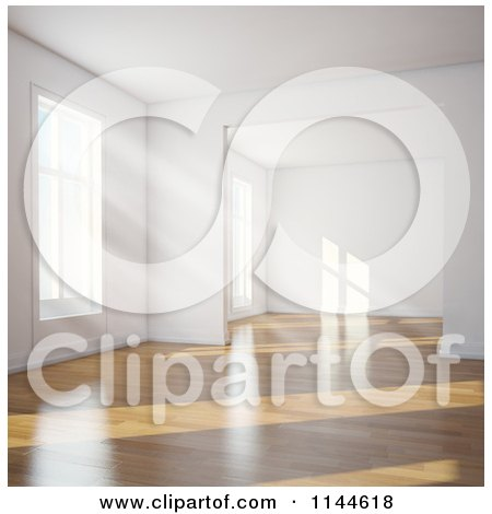 Clipart of Daylight Shining in Through Windows of an Empty 3d Room with Wood Floors 2 - Royalty Free CGI Illustration by Mopic