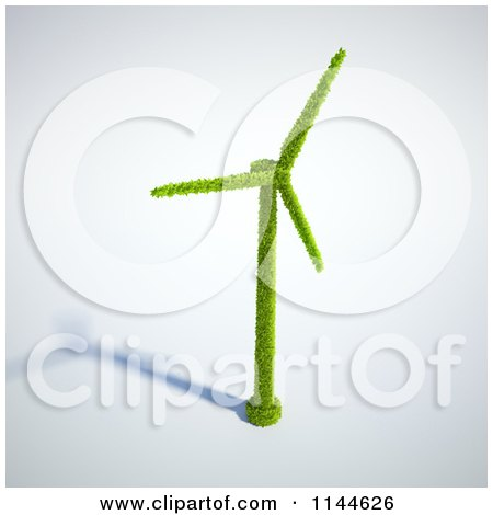 Clipart of a 3d Green Wind Energy Windmill Made of Leaves with a Shadow - Royalty Free CGI Illustration by Mopic