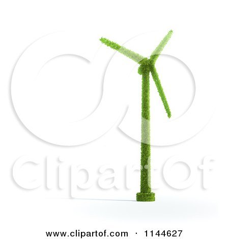 Clipart of a 3d Green Wind Energy Windmill Made of Leaves - Royalty Free CGI Illustration by Mopic