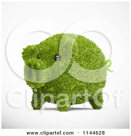 Clipart of a 3d Green Leafy Piggy Bank - Royalty Free CGI Illustration by Mopic