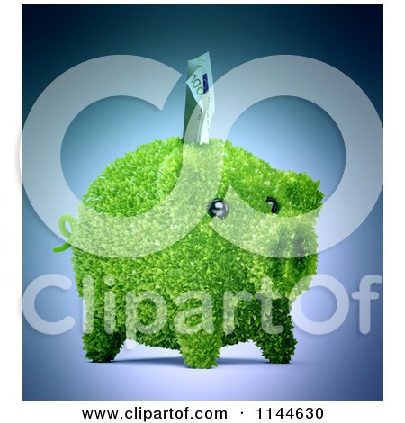 Clipart of a 3d Green Leafy Piggy Bank with a Euro Bill - Royalty Free CGI Illustration by Mopic