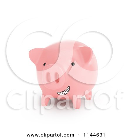 Clipart of a 3d Grinning Pink Piggy Bank - Royalty Free CGI Illustration by Mopic
