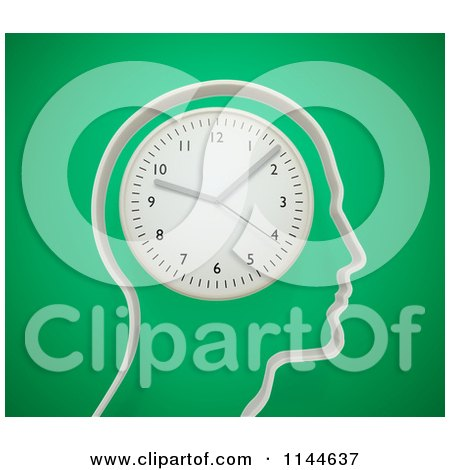 Clipart of a 3d Head Outline with a Wall Clock for a Brain - Royalty Free CGI Illustration by Mopic