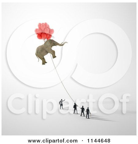 Clipart of 3d Tiny Businessmen Holding a Rope to a Floating Elephant - Royalty Free CGI Illustration by Mopic