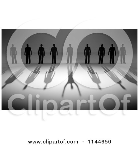 Clipart of 3d Silhouetted Men with Shadows and One Reflecting a Winner - Royalty Free CGI Illustration by Mopic