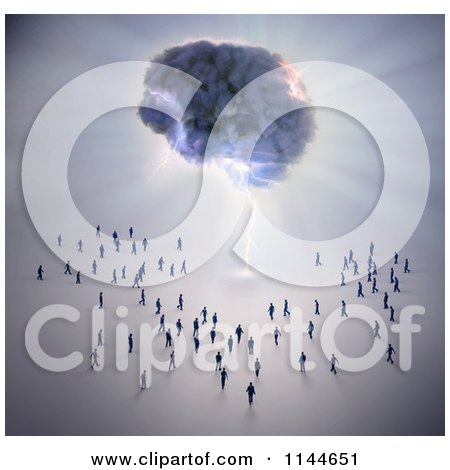 Clipart of 3d Tiny People Walking Towards a Brain Storm - Royalty Free CGI Illustration by Mopic