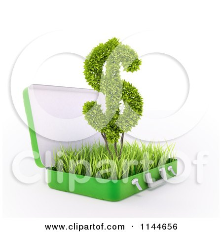 Clipart of a 3d Green Dollar Symbol in a Grassy Briefcase - Royalty Free CGI Illustration by Mopic