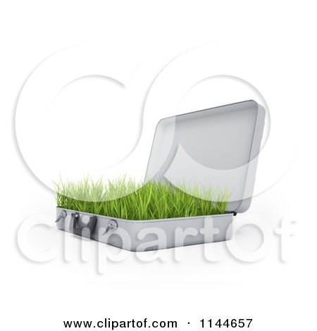 Clipart of a 3d Briefcase with Green Grass Growing Inside of It 1 - Royalty Free CGI Illustration by Mopic