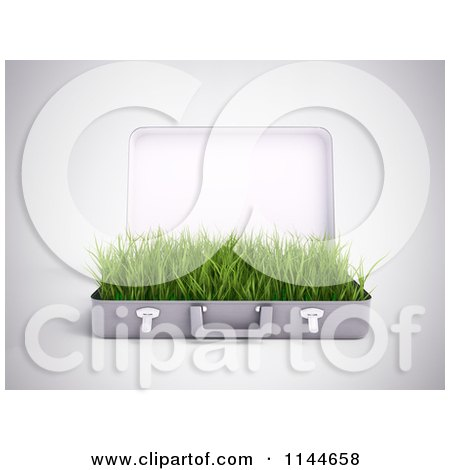 Clipart of a 3d Briefcase with Green Grass Growing Inside of It 2 - Royalty Free CGI Illustration by Mopic