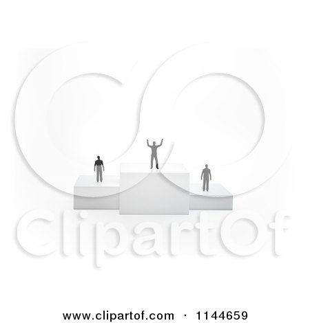 Clipart of 3d Tiny Men Standing on Placement Podiums with the Winner Cheering - Royalty Free CGI Illustration by Mopic
