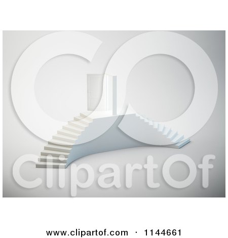 Clipart of a 3d Double White Staircase and Door - Royalty Free CGI Illustration by Mopic