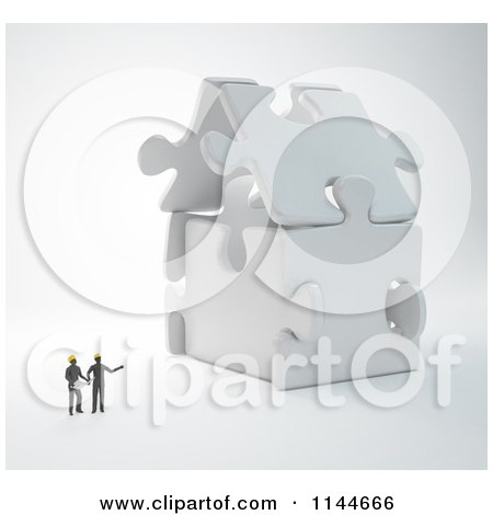 Clipart of 3d Architect Builders Discussing a Puzzle House - Royalty Free CGI Illustration by Mopic