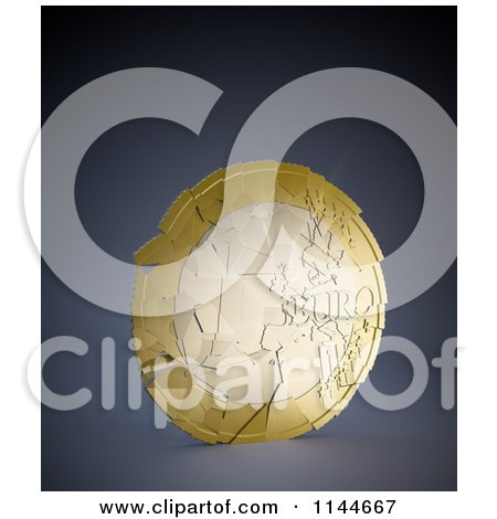 Clipart of a 3d Shattering Euro Coin 1 - Royalty Free CGI Illustration by Mopic