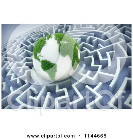 Clipart of a 3d Grassy Earth in the Center of a Maze - Royalty Free CGI Illustration by Mopic
