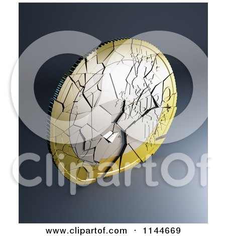 Clipart of a 3d Shattering Euro Coin 2 - Royalty Free CGI Illustration by Mopic