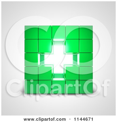 Clipart of a 3d Bright Cross in the Center of Stacked Green Cubes - Royalty Free CGI Illustration by Mopic